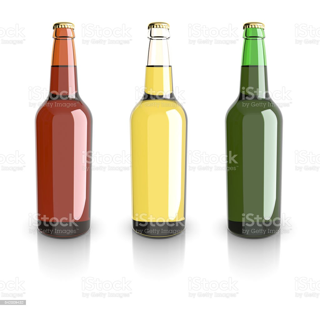 Bottled beer yellow, green and red colors. royalty-free stock photo