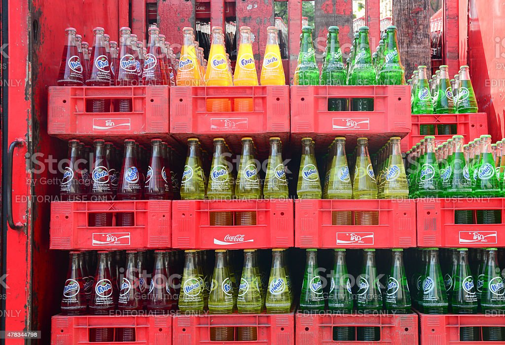 Bottled soft drinks in a supermarket stock photo