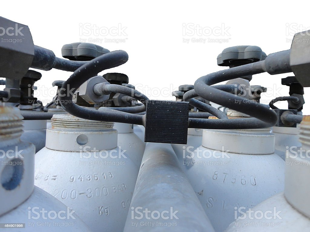 Bottled Valves of an industrial stock of obsolete stock photo