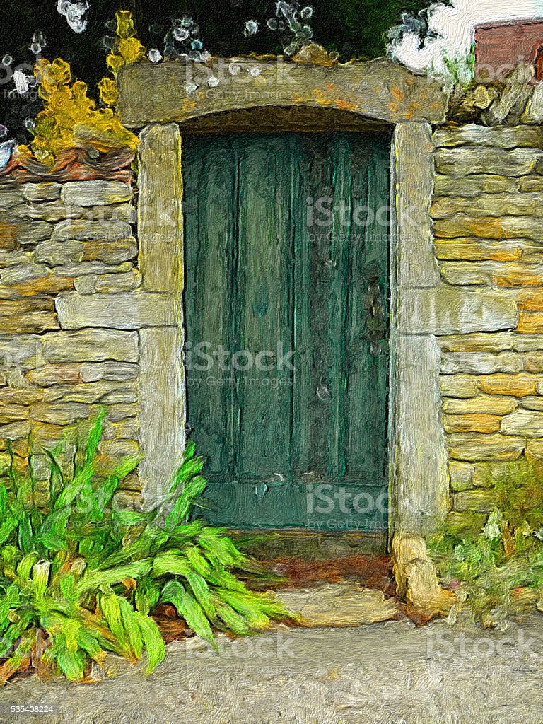Bottle-green door - impressionistic stock photo