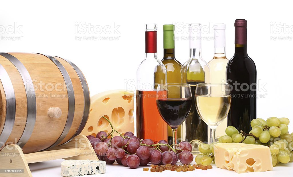 bottles and glasses of wine royalty-free stock photo