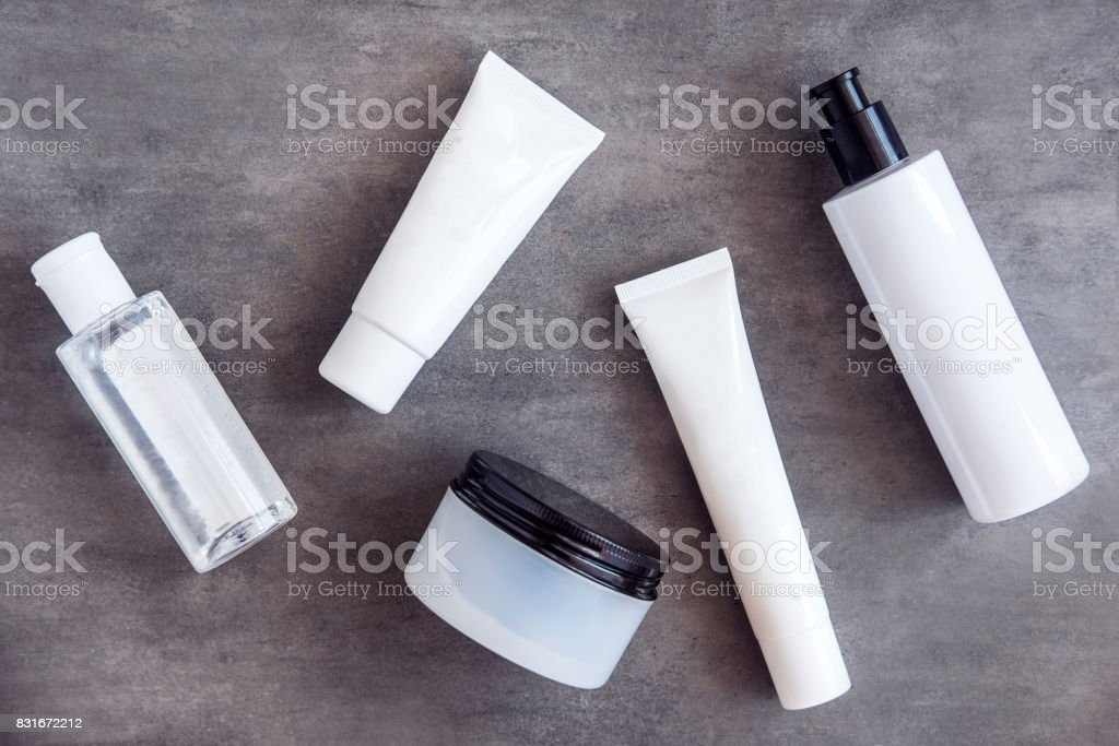 Bottles and jars with beauty cosmetics stock photo
