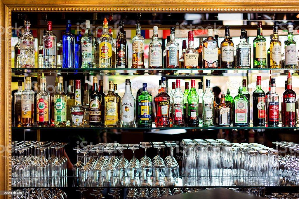 bottles at a bar stock photo