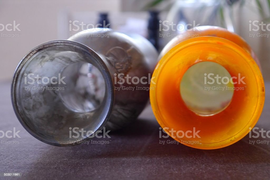 bottles colorful painted glas Reflexion Abstract design stock photo