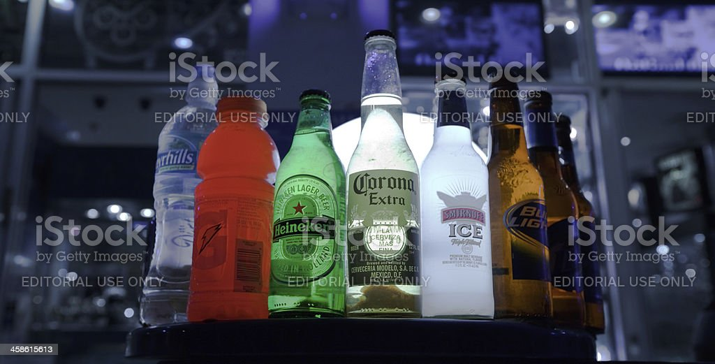 bottles in a bar stock photo