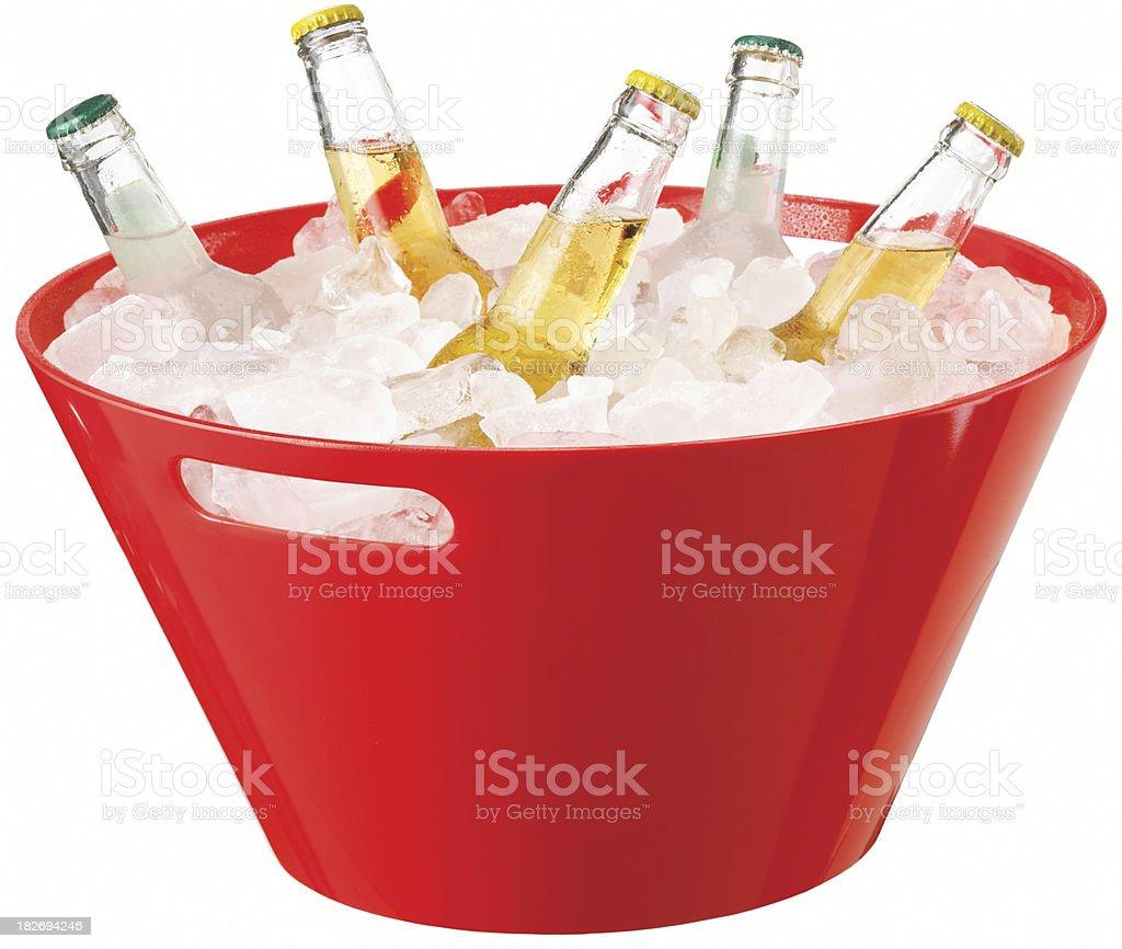 Bottles in ice bucket stock photo
