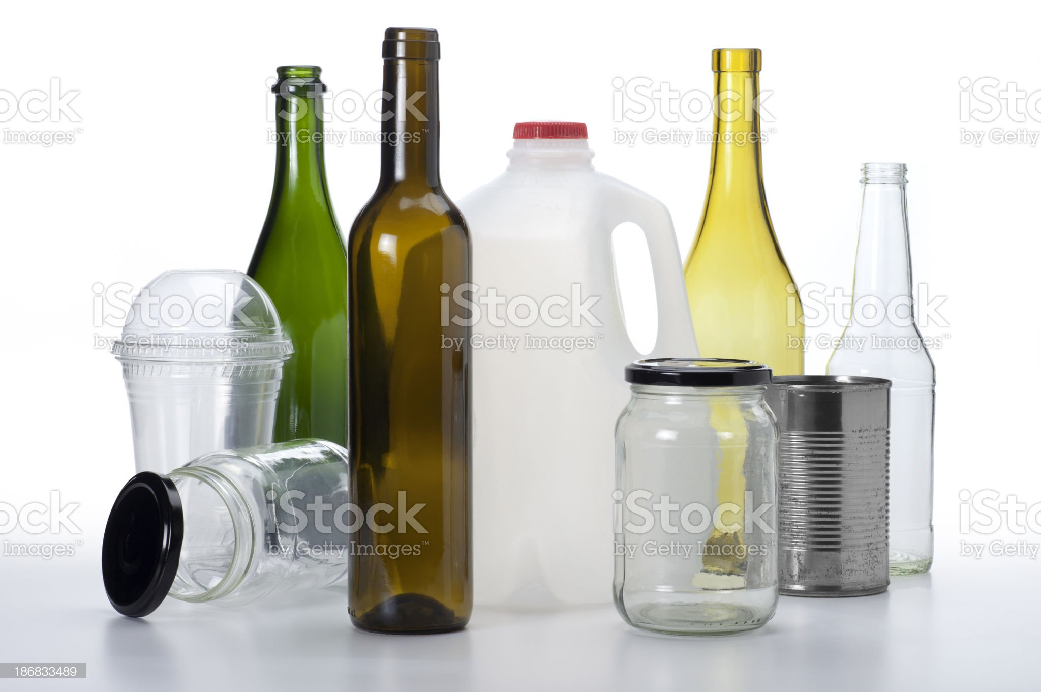 Bottles, Jars and Cans for Recyling royalty-free stock photo