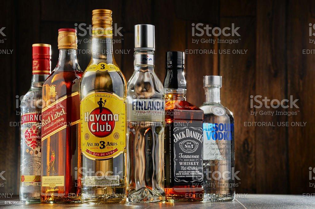 Bottles of assorted hard liquor brands stock photo