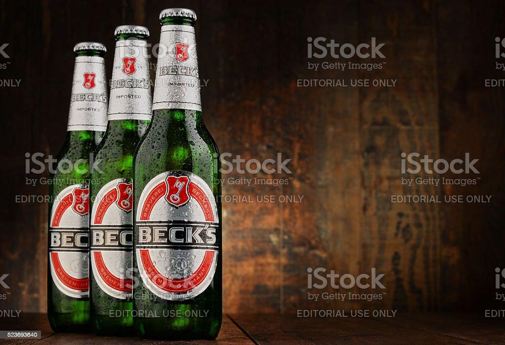 Bottles of Beck's beer stock photo