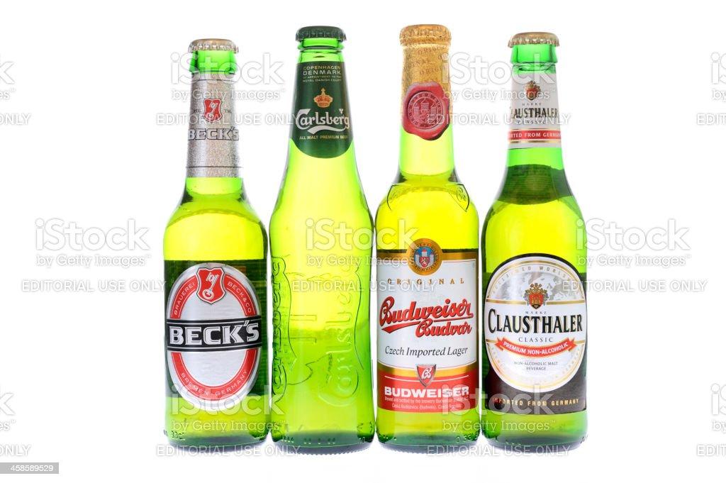Bottles of beer on white background stock photo