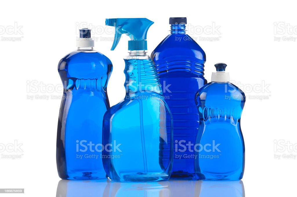 Bottles of blue cleaning products stock photo
