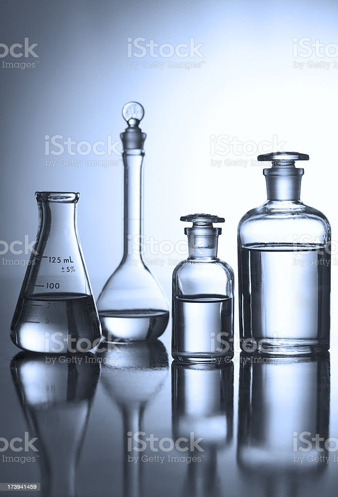 Bottles of Chemicals in a Research Lab, Monochrome royalty-free stock photo