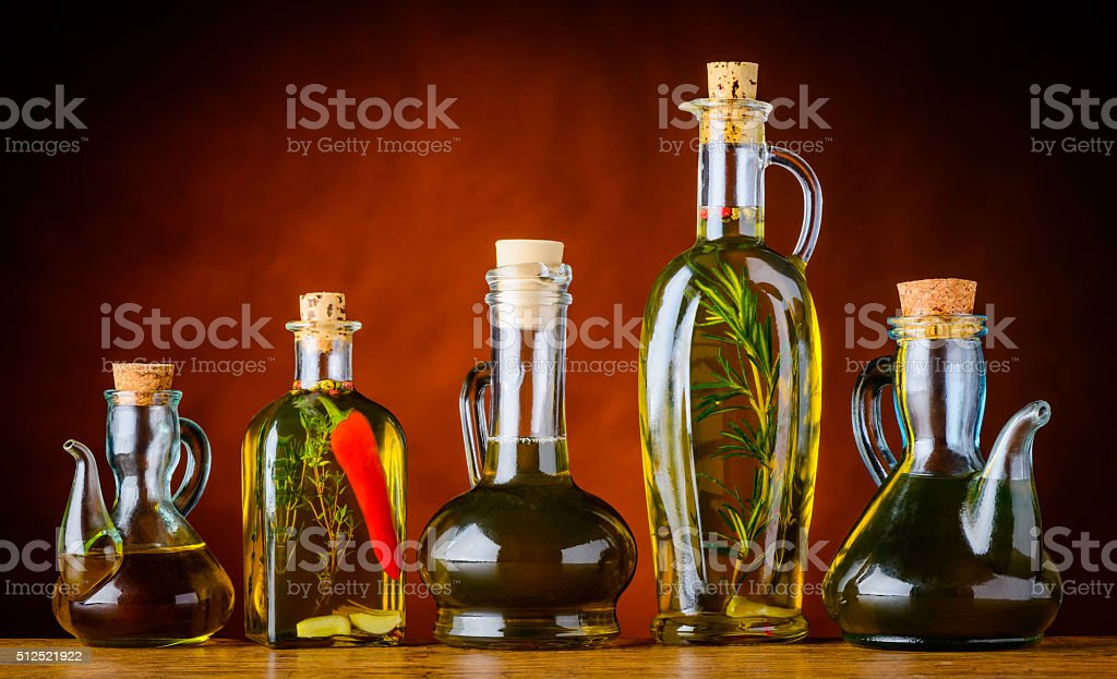 Bottles of Cooking Oil stock photo