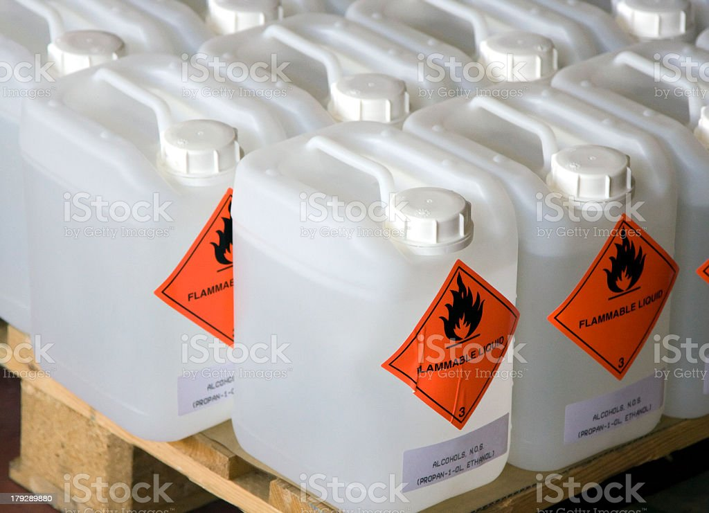 Bottles of flammable liquid sitting on a wooden crate stock photo