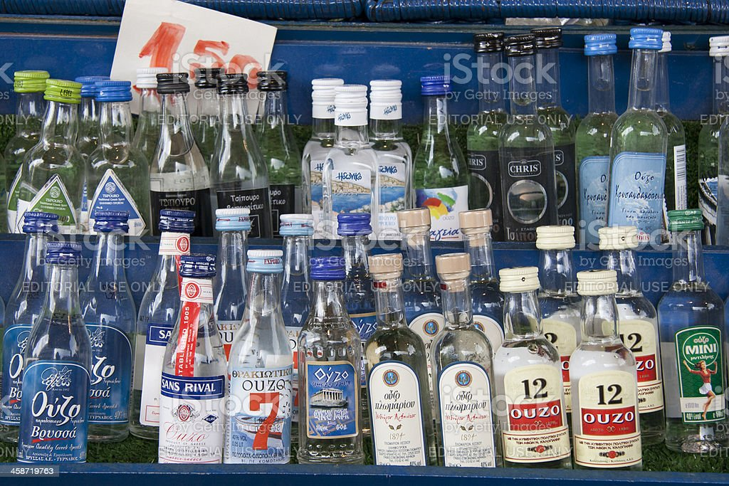 Bottles of greek Ouzo, traditional alcoholic drink stock photo