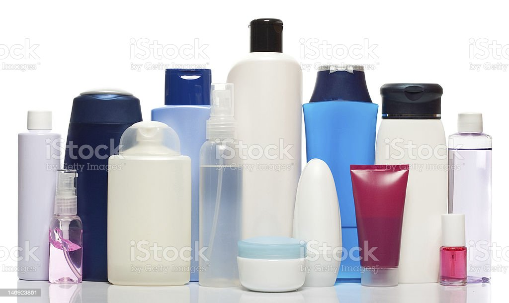 bottles of health and beauty products royalty-free stock photo
