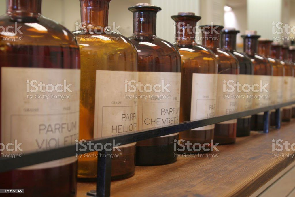 Bottles of ingredients for perfume stock photo