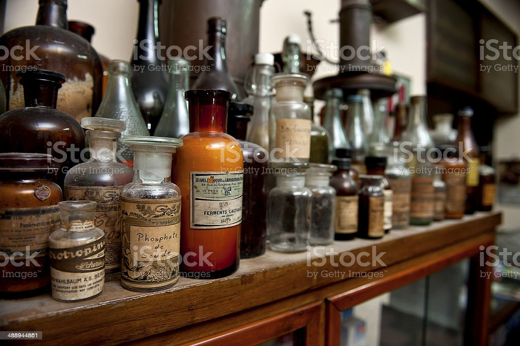 bottles of ingredients for pharmacy stock photo