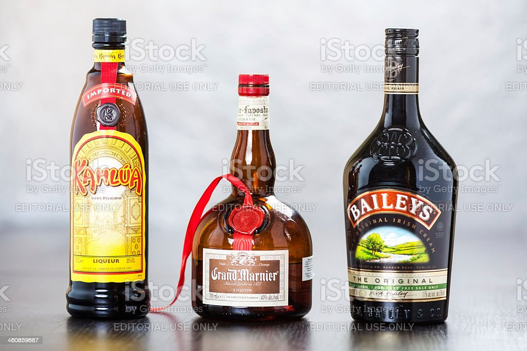 Bottles of Kahlua, Grand Marnier and Bailey's Irish Cream stock photo