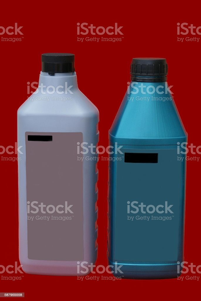 bottles of motor oil and screen wash for vehicles stock photo