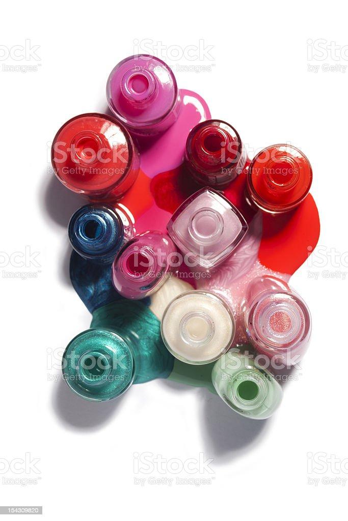 bottles of nailpolish stock photo