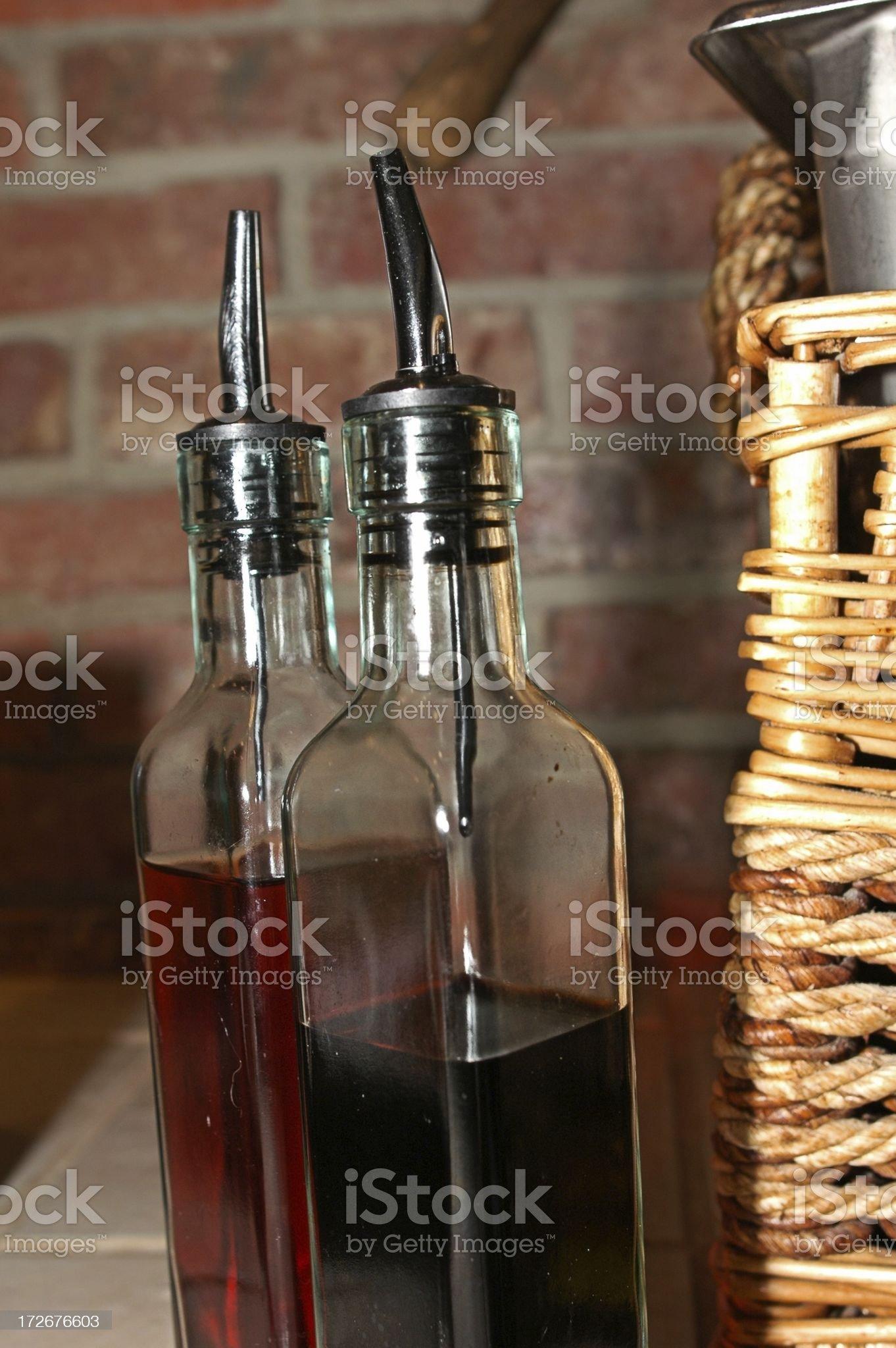 bottles of oil and vinegar royalty-free stock photo