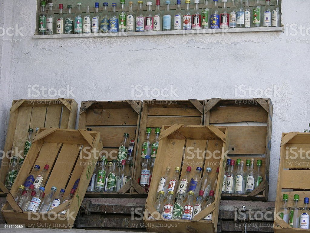 bottles of Ouzo stock photo