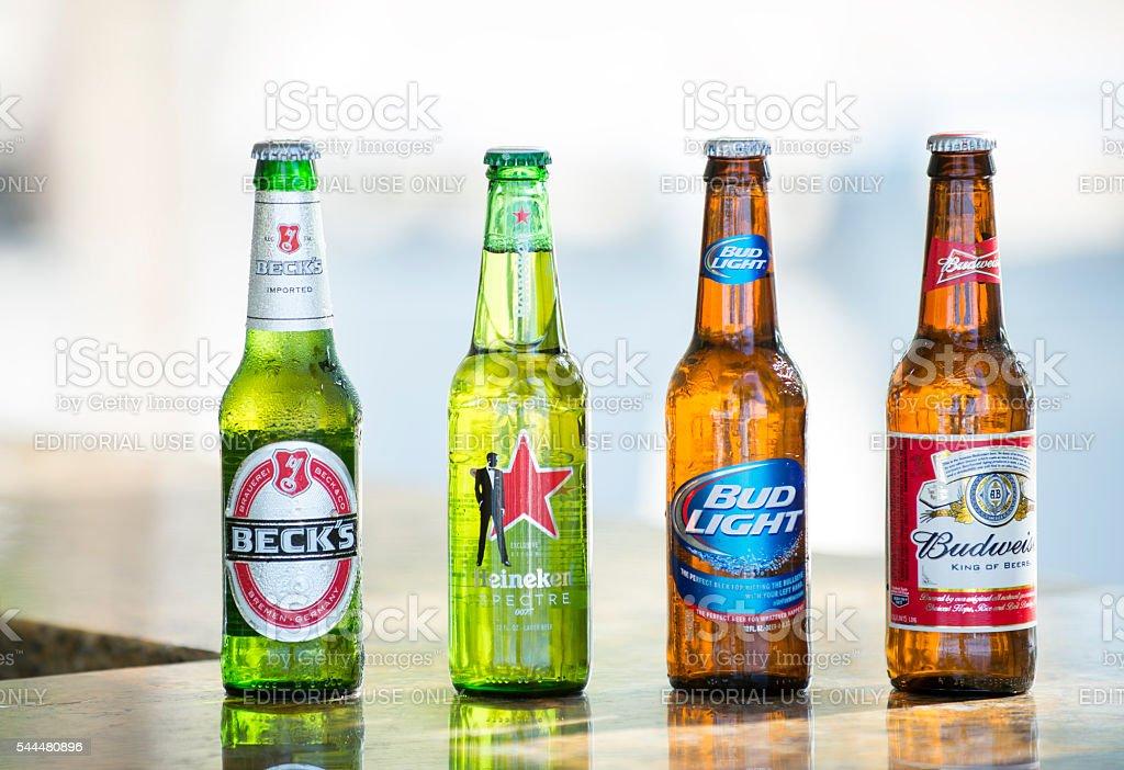 Bottles of popular assorted beers stock photo
