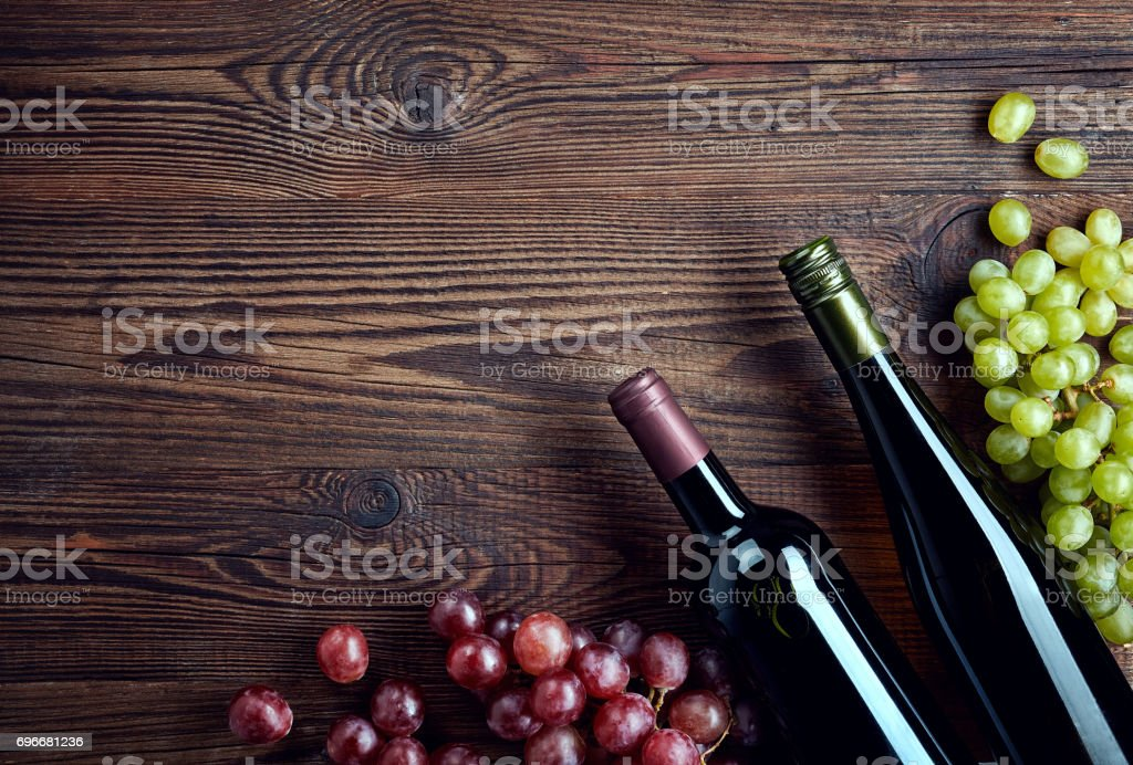 Bottles of red and white wine stock photo