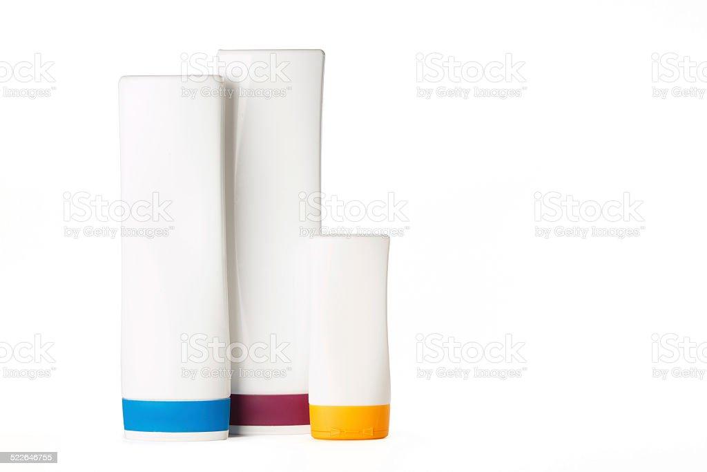 bottles of shampoo stock photo