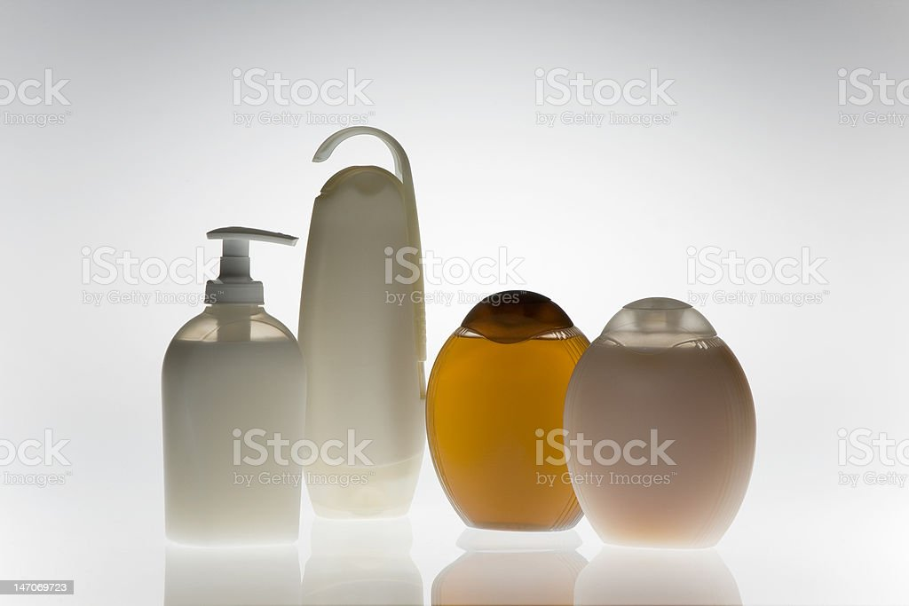 Bottles of soap and shampoo stock photo