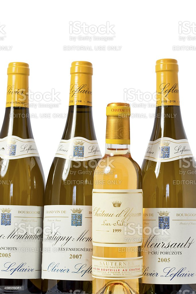 bottles of top quality French white wine stock photo