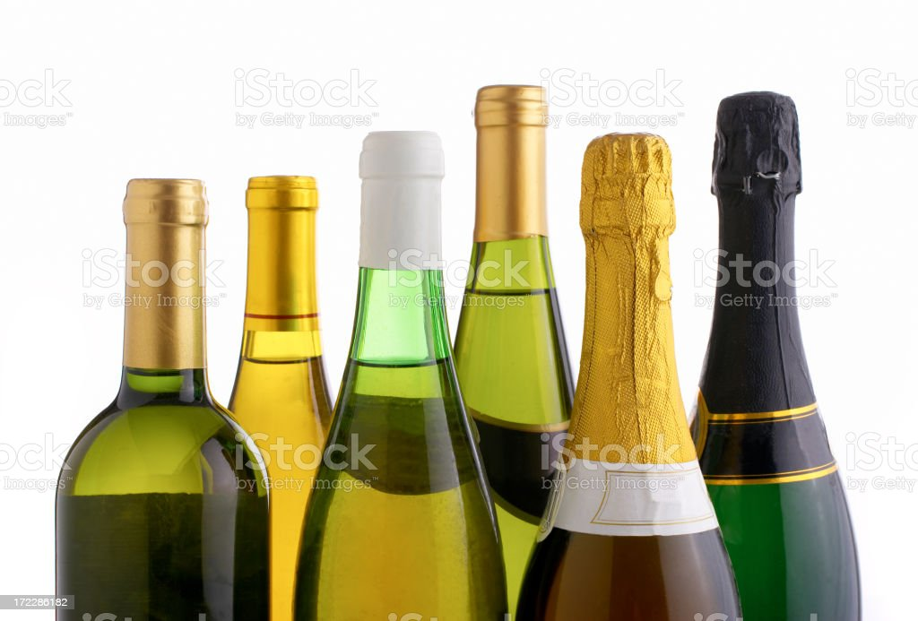 Bottles of white wine and champagne stock photo