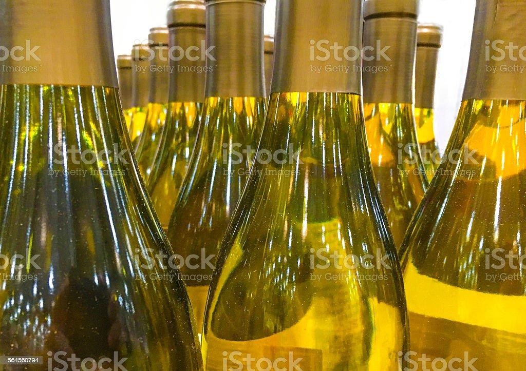 Bottles of white wine stock photo