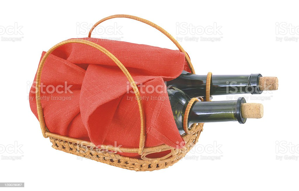 Bottles of wine and red cloth isolated on white background royalty-free stock photo