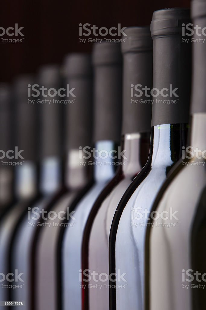 Bottles of WIne in a Row stock photo
