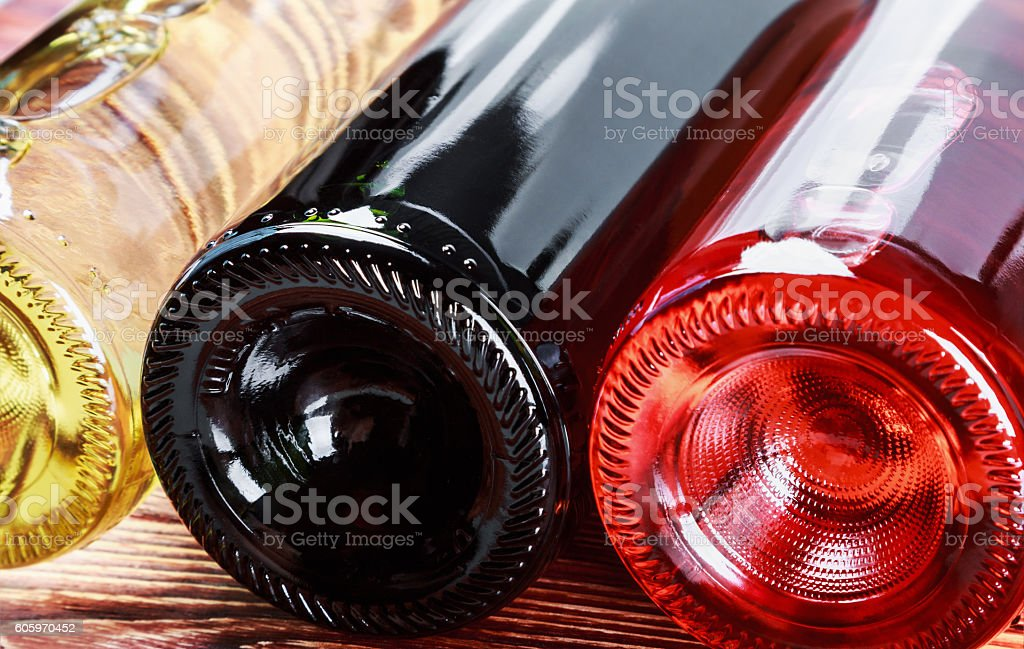 bottles of wine of different sorts stock photo
