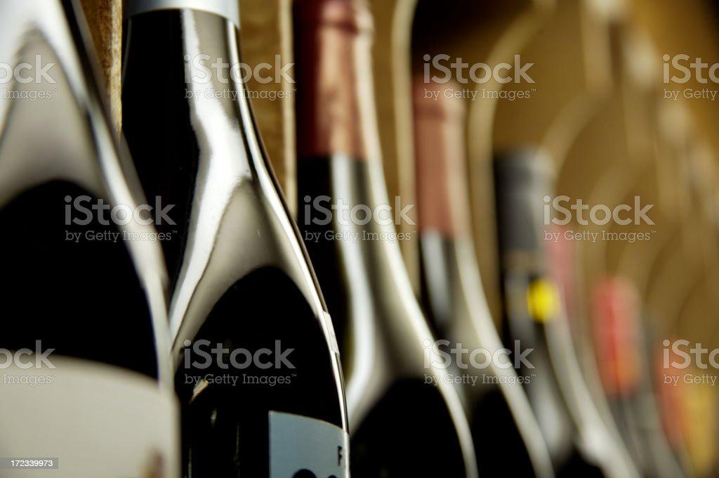 Bottles of wine on display stock photo