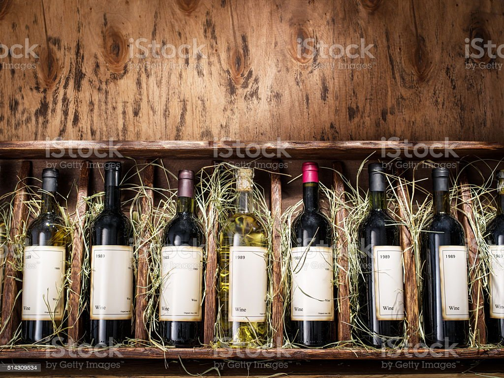 Bottles of wine. stock photo