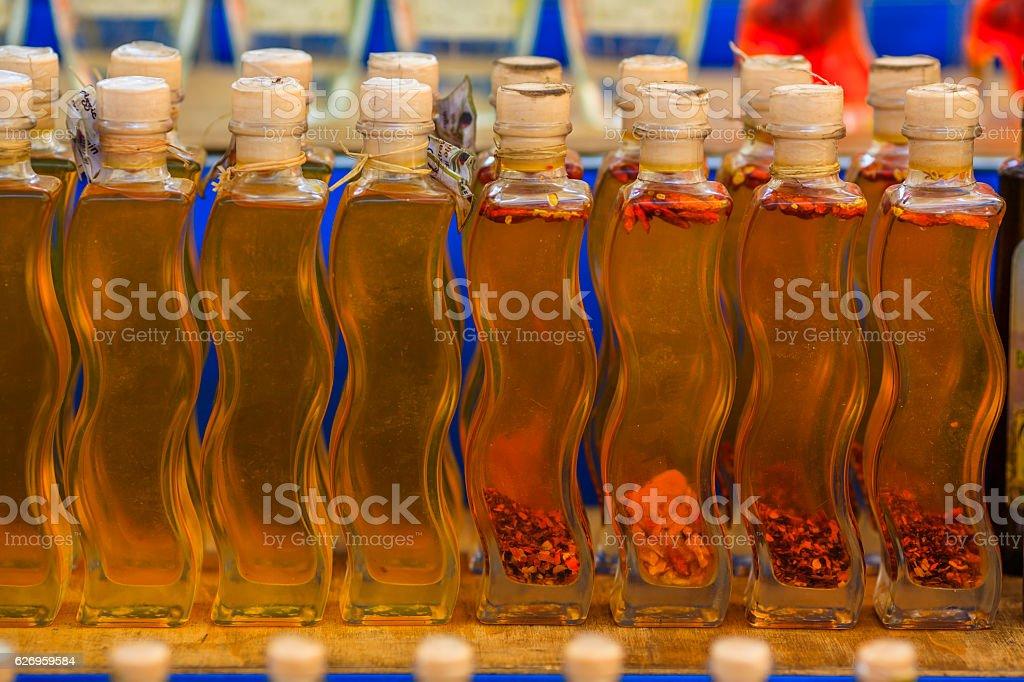 Bottles olive oil stock photo