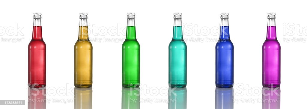 Bottles with colored liquid stock photo