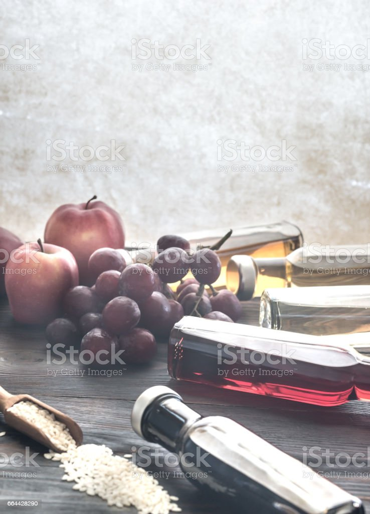 Bottles with different kinds of vinegar stock photo
