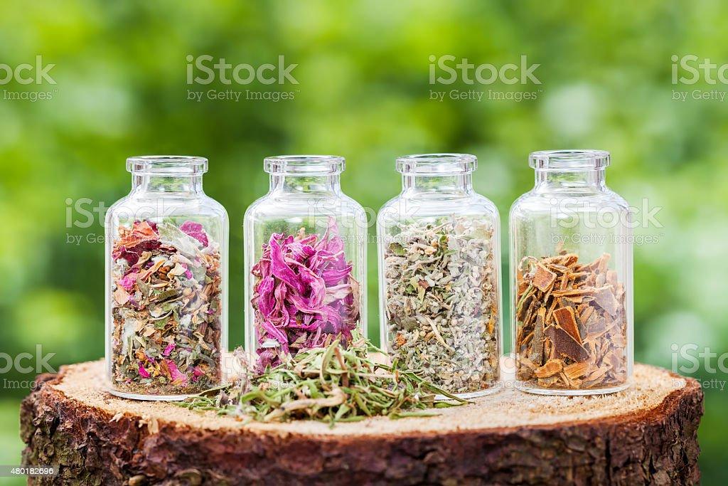 Bottles with healing herbs on wooden stump stock photo