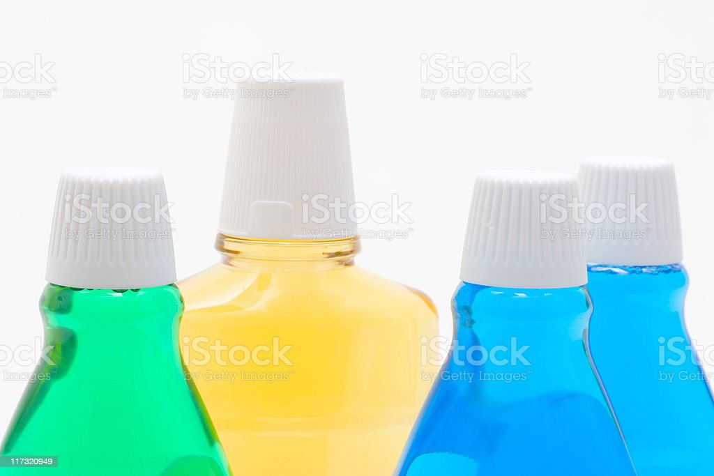 Bottles With Mint Mouthwash stock photo