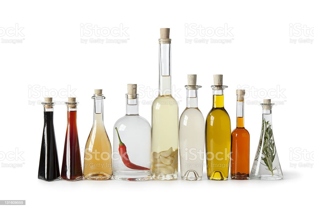 Bottles with oil and vinegar stock photo