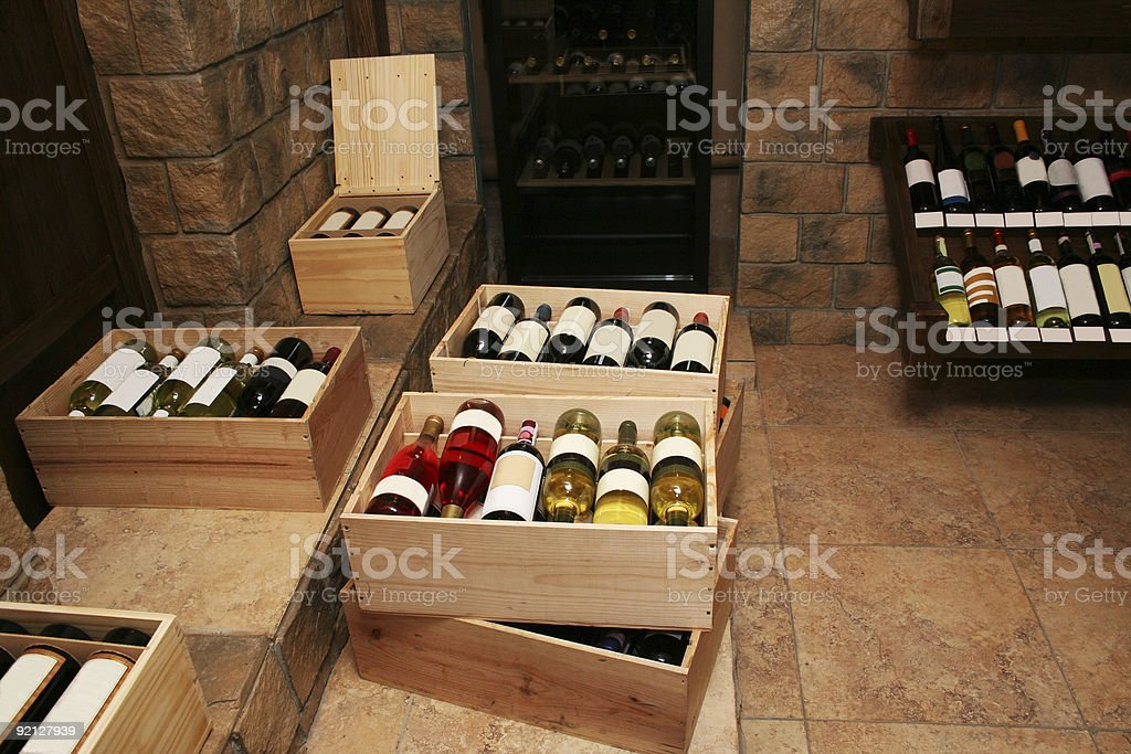 Bottles with old wine royalty-free stock photo