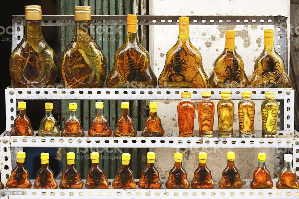 Bottles with snakes and scorpions royalty-free stock photo