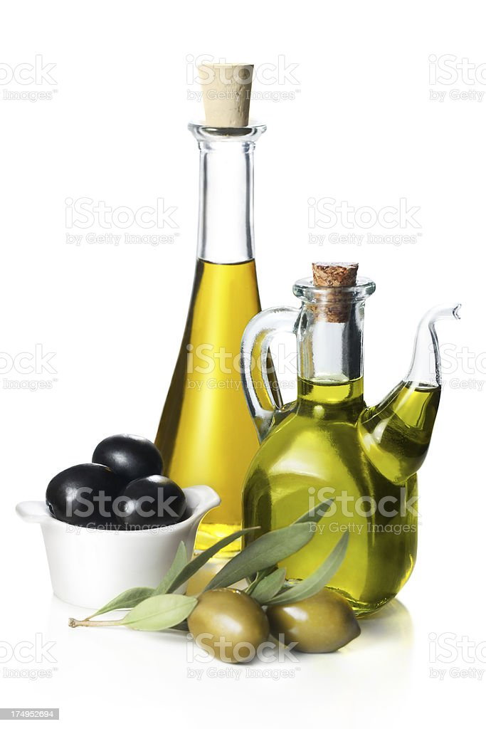 Bottles with two kinds olive oil royalty-free stock photo
