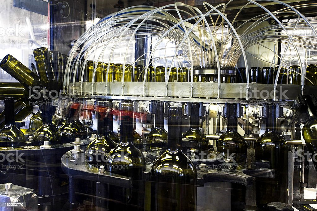 Bottling line in a Montepulciano winery royalty-free stock photo