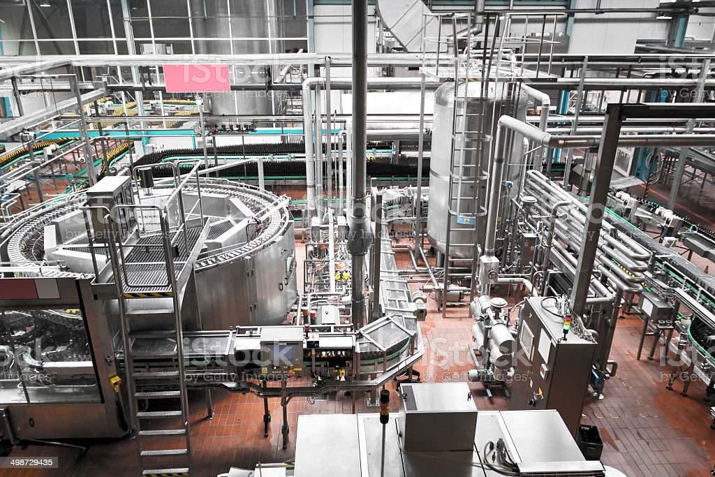 Bottling plant stock photo